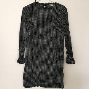 Ruffle Accent Polka-Dot Long Sleeve Shift Dress